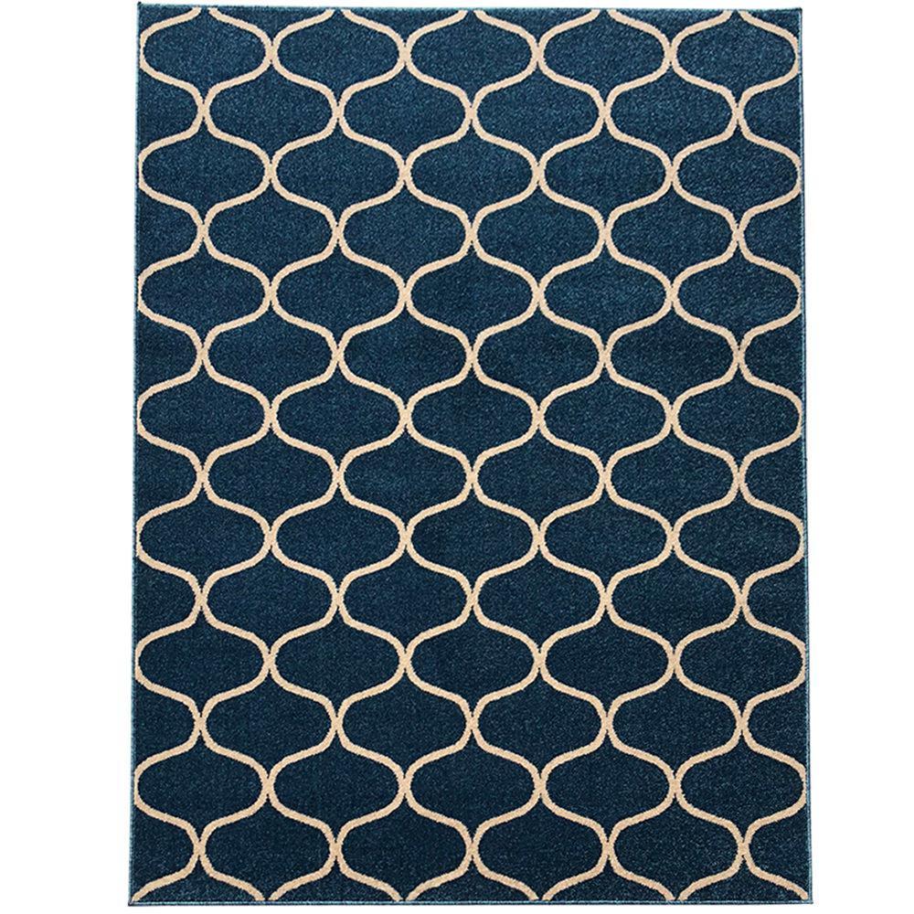 Pyramid Decor Blue 2 ft. x 5 ft. Modern Geometric Pattern Area Rug