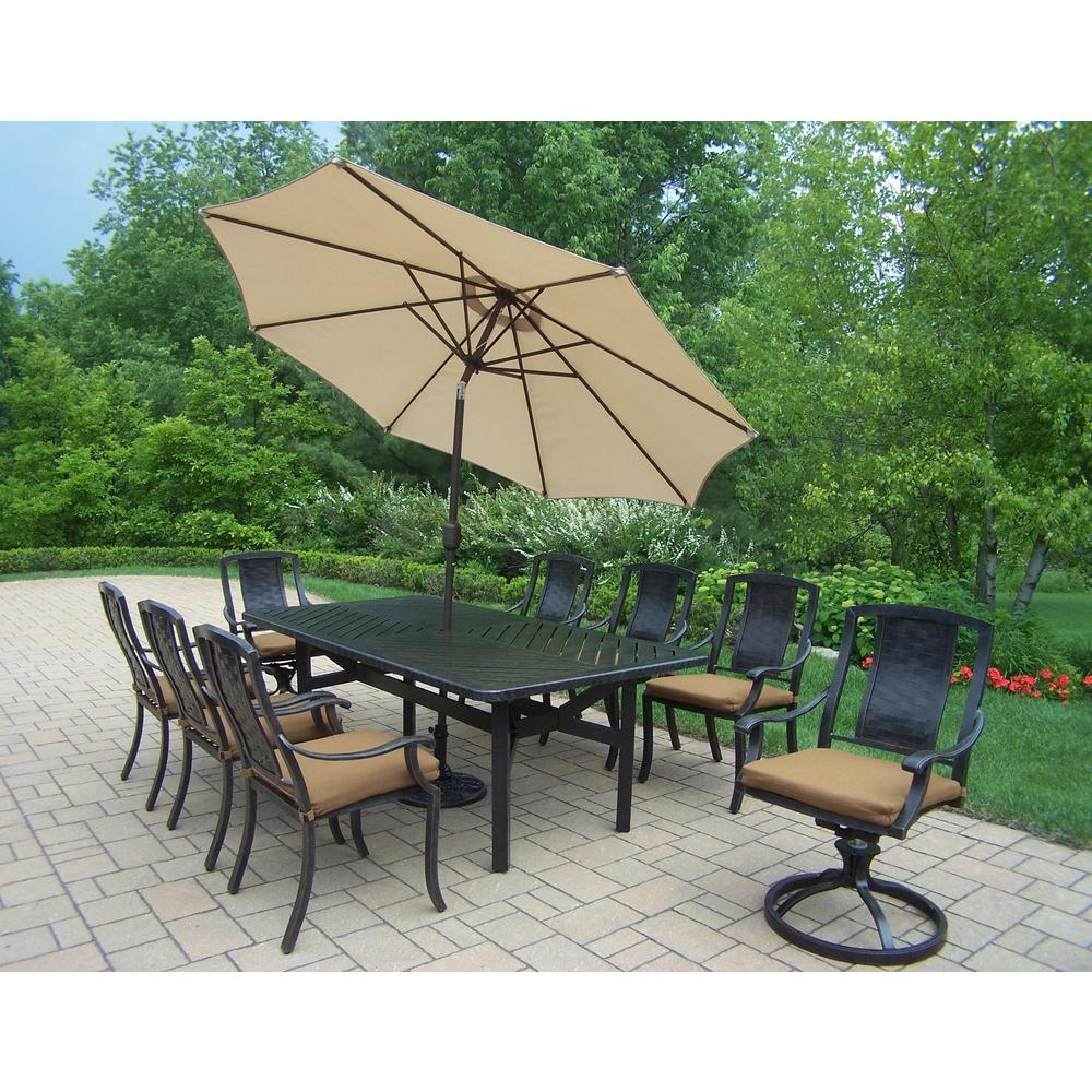 11-Piece Aluminum Outdoor Dining Set with Sunbrella Brown Cushions and Beige