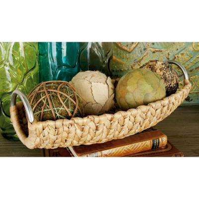 Brown Tight Braid Water Hyacinth Long Baskets with Gray Iron Ring Handles (Set of 3)