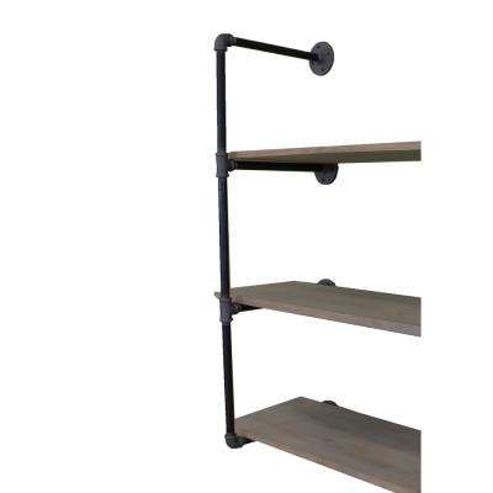 Rustic Black Industrial Pipe-Mounted 3-Tier Shelf