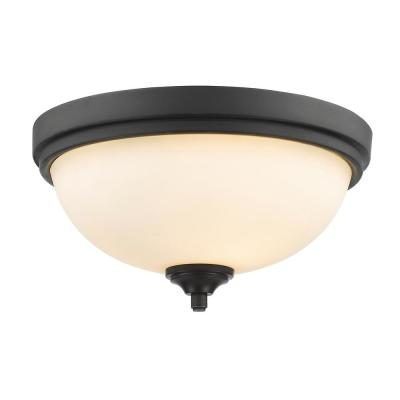 13 in. 2-Light Bronze Flush Mount with Matte Opal Glass