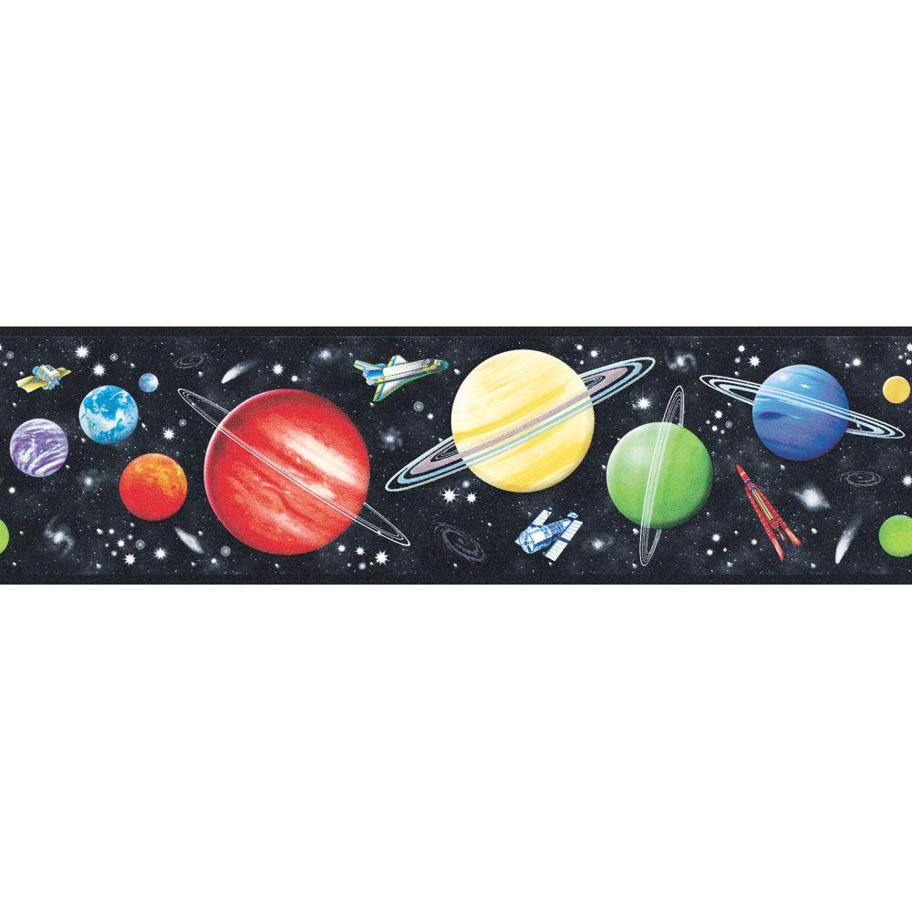 The Wallpaper Company 6.88 in. x 15 ft. Black Space Galaxy Border