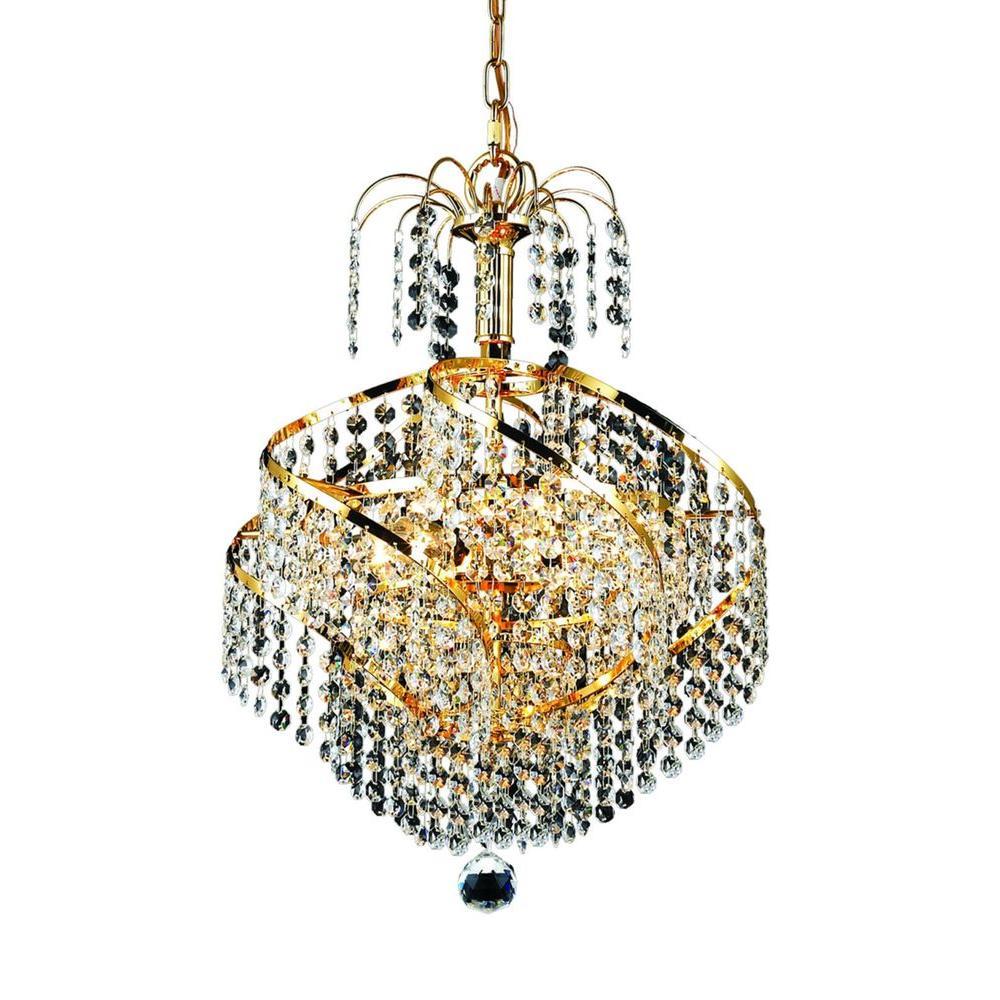Elegant Lighting 3-Light Gold Chandelier with Clear Crystal