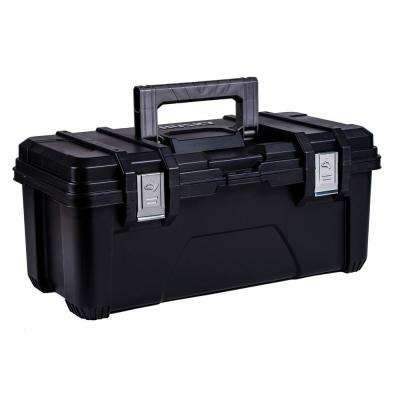 26 in. Plastic Portable Tool Box with Metal Latches in Black