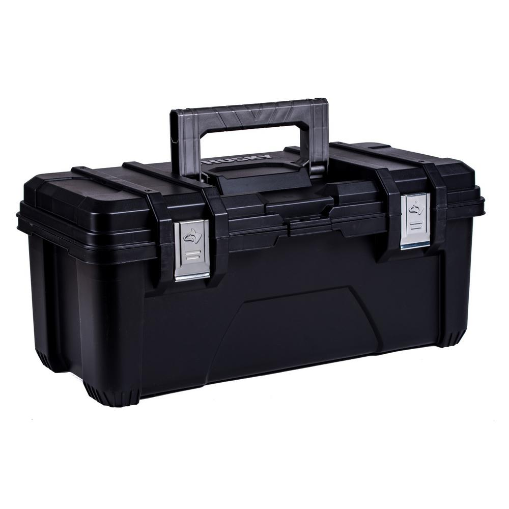 Husky 26 in. Plastic Portable Tool Box with Metal Latches in Black