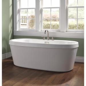 Synergy 68 in. Acrylic Flatbottom Bathtub with Integrated Waste and Overflow in White