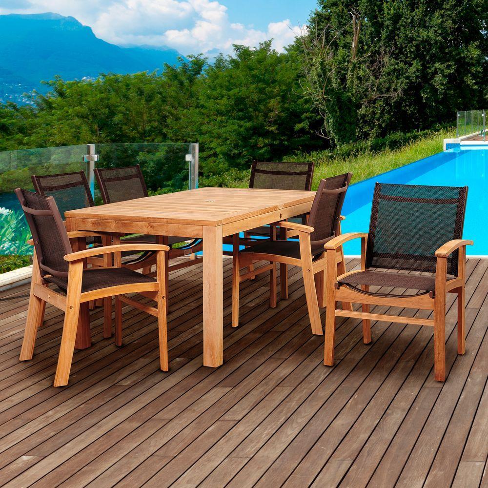 Amazonia Elliot 7 Piece Teak Rectangular Patio Dining Set