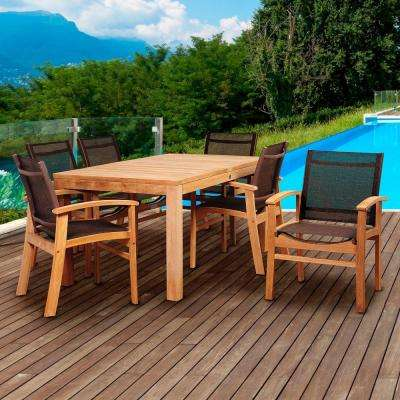 Elliot 7-Piece Teak Rectangular Patio Dining Set with Brown Sling Chairs