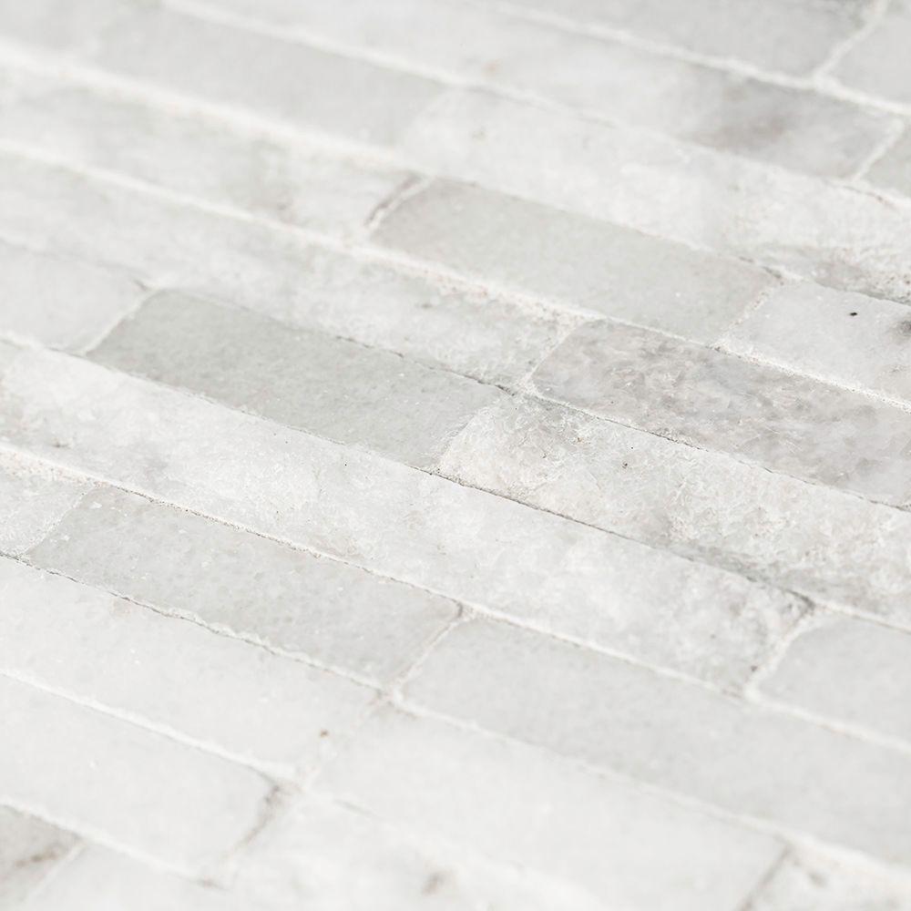 Churchill White Split Face 11.75 in. x 12.625 in. x 13 mm Splitface Textured Marble Mosaic Tile