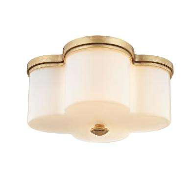 Clover 2-Light Aged Brass with Opal Glass Flushmount