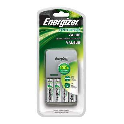 Exceptional Value AA/AAA Battery Charger with 4 AA Batteries Included
