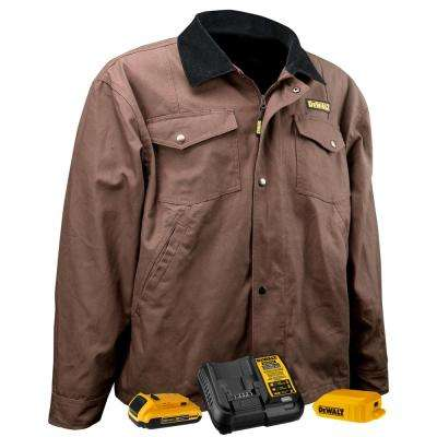 Unisex Small Tobacco Duck Fabric Heated Barn Coat with 20-Volt/2.0 AMP Battery and Charger