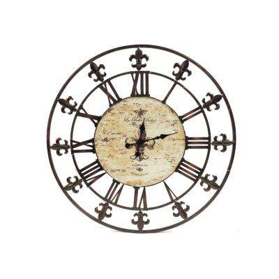 Oversized Brown Metal Wall Clock With Wooden Center