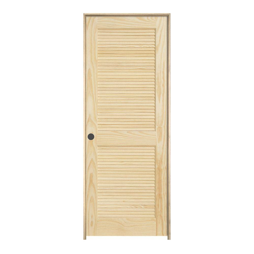 Pine Unfinished Right Hand 2 Panel Full Louver Wood Single Prehung Interior  Door 660309   The Home Depot