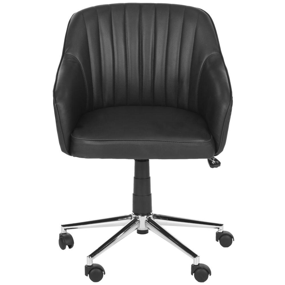 safavieh hilda black faux leather office chair fox8509a the home depot