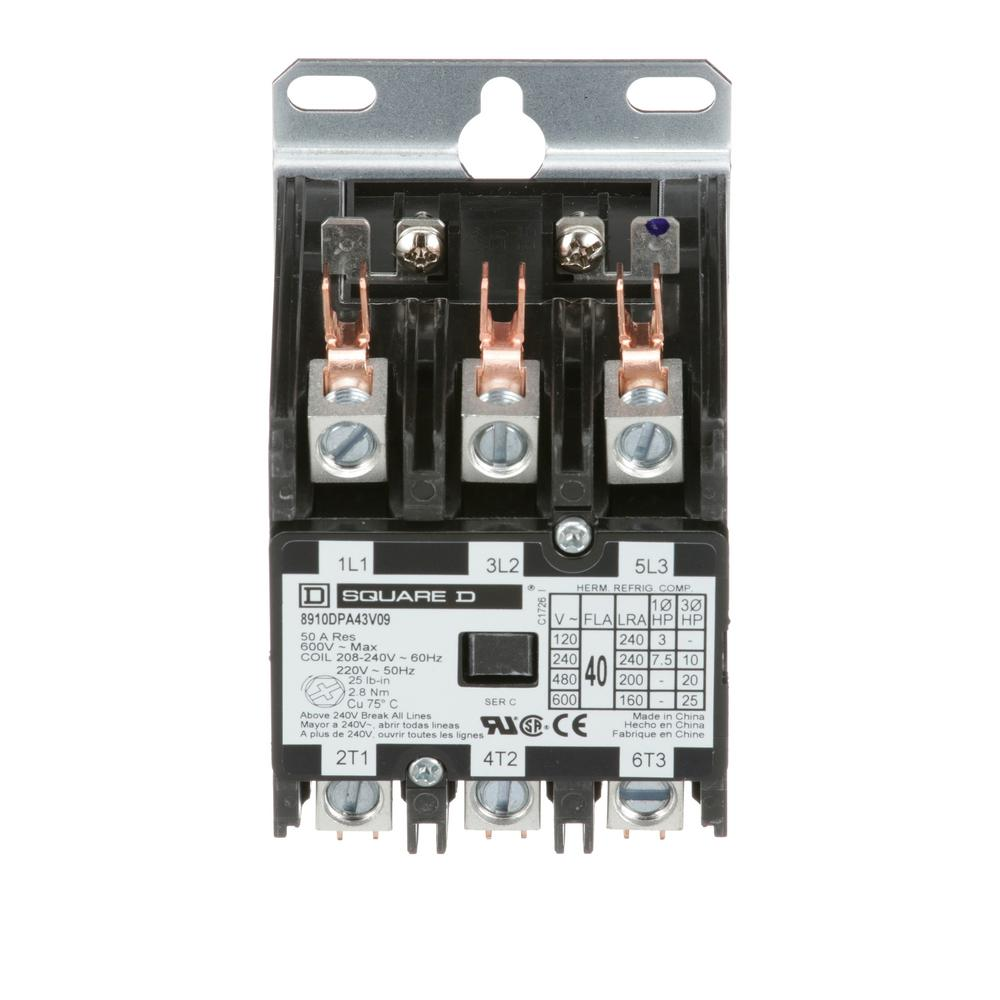 40 amp 208/240-volt ac 3 pole definite purpose contactor (20-pack)
