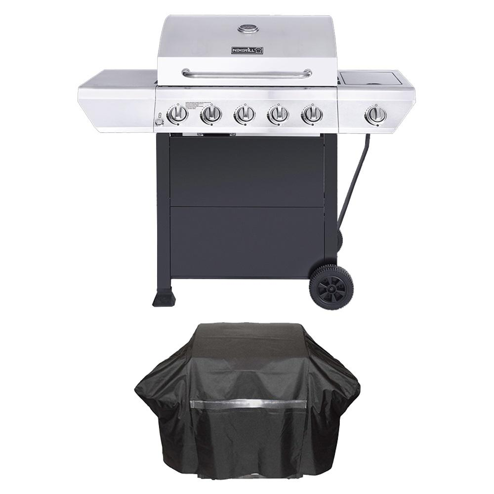 Nexgrill Nexgrill 5-Burner Propane Gas Grill in Stainless Steel with Side Burner and Black Cabinet Plus Grill Cover, Silver