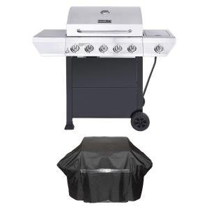 Nexgrill 5-Burner Propane Gas Grill in Stainless Steel with Side Burner and Black Cabinet Plus Grill Cover by Nexgrill