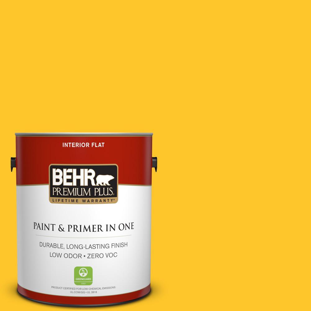 BEHR Premium Plus 1-gal. #330B-7 Sunflower Zero VOC Flat Interior Paint