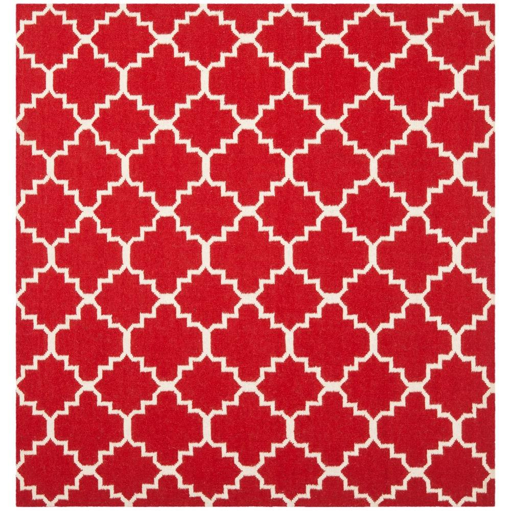 Safavieh Dhurries Red/Ivory 6 ft. x 6 ft. Square Area Rug