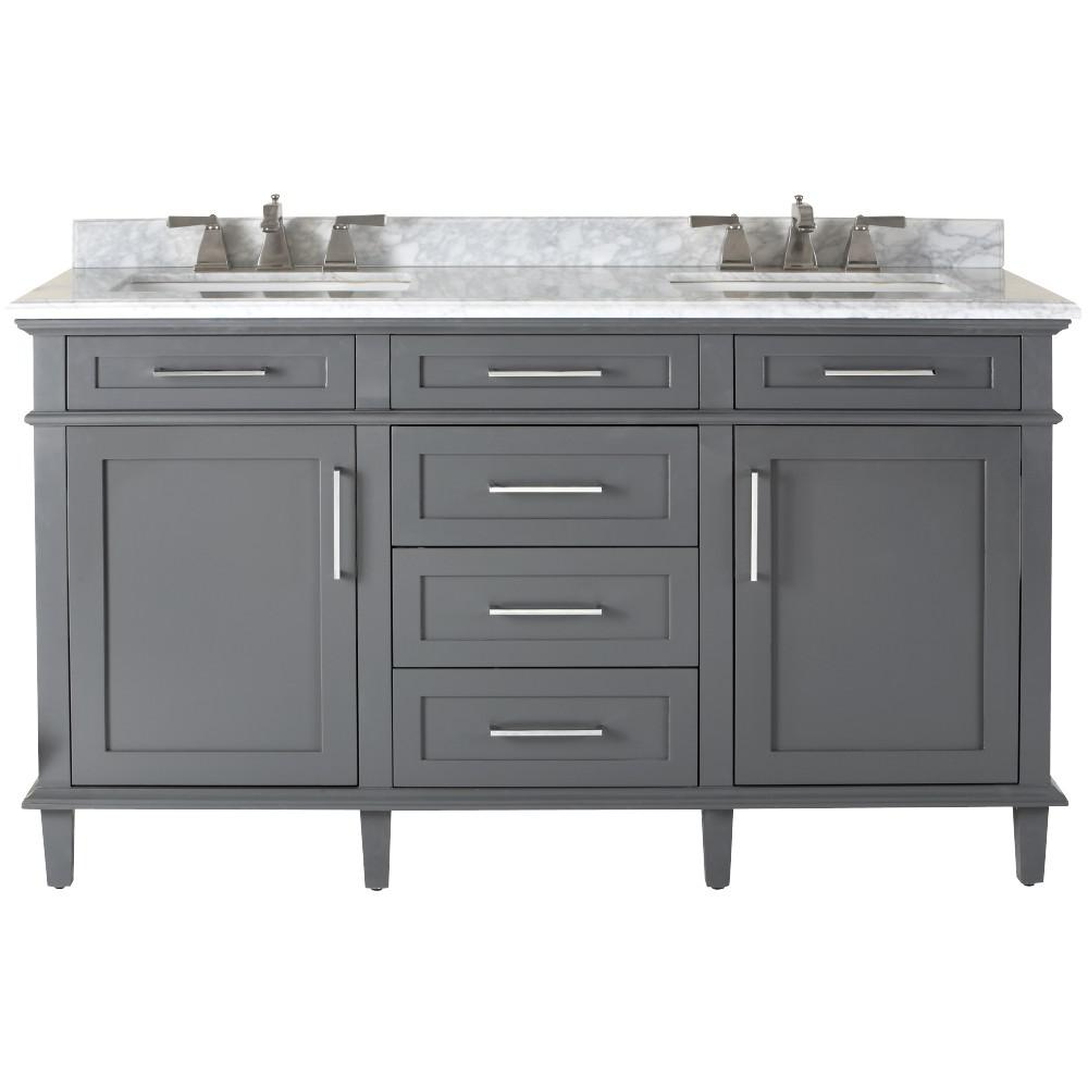 Home Decorators Collection Sonoma 60 In W X 22 In D Double Bath Vanity In Dark Charcoal With Carrara Marble Top With White Sinks