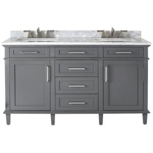 Home Decorators Collection Sonoma 60 inch W x 22 inch D Double Bath Vanity in Dark... by Home Decorators Collection