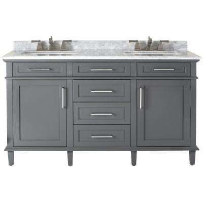 Sonoma 60 in. W x 22 in. D Double Bath Vanity in Dark Charcoal with Carrara Marble Top with White Basins