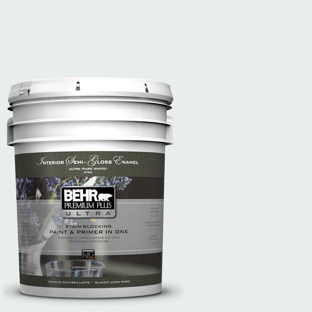 5-gal. #460C-1 Aegean Mist Semi-Gloss Enamel Interior Paint