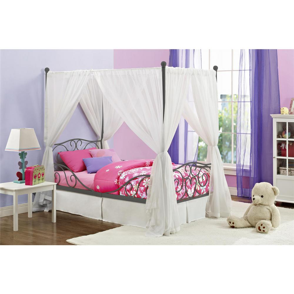 Twin Canopy Bed Gray Pewter