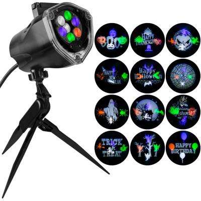1-LED Light Projection-Whirl-A-Motion Plus Static Stake with 12-Multi Color Halloween Slides