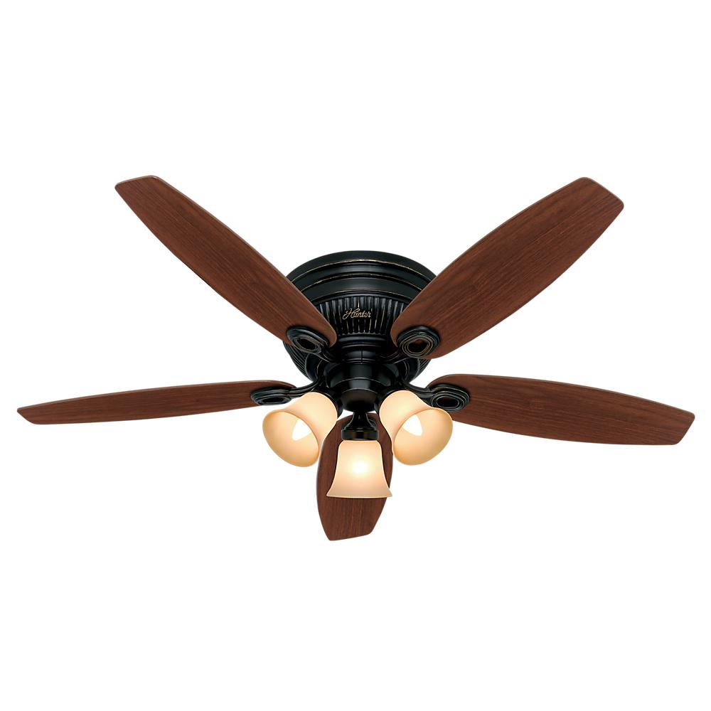 Hunter Ceiling Fans With Lights : Hunter builder low profile in indoor snow white