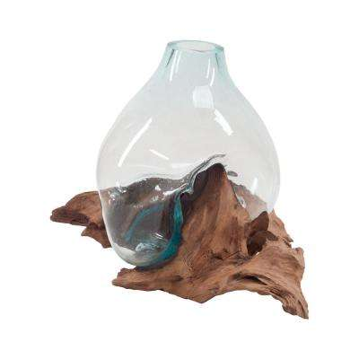 14 in. Teak and Glass Decorative Vase in Natural and Clear