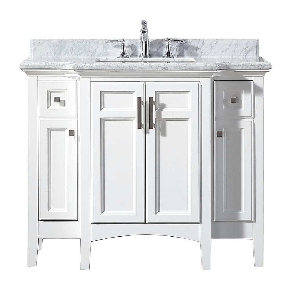 Home Decorators Collection Sassy 42 in. W x 22 in. D Vanity in White with Marble Vanity Top in White with White Sink