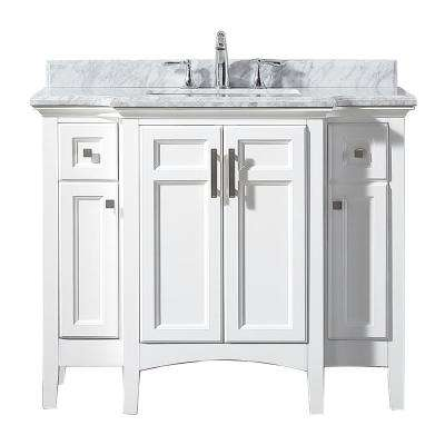Sassy 42 in. W x 22 in. D Vanity in White with Marble Vanity Top in White with White Basin