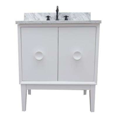 Stora 31 in. W x 22 in. D Bath Vanity in White with Marble Vanity Top in White with White Rectangle Basin