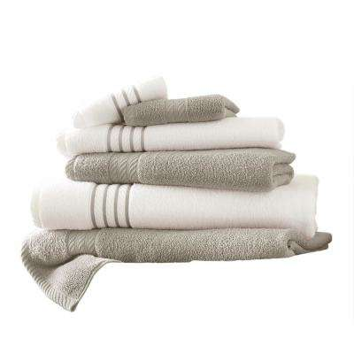 6-Piece Quick Dry Stripe Towel Set in Silver