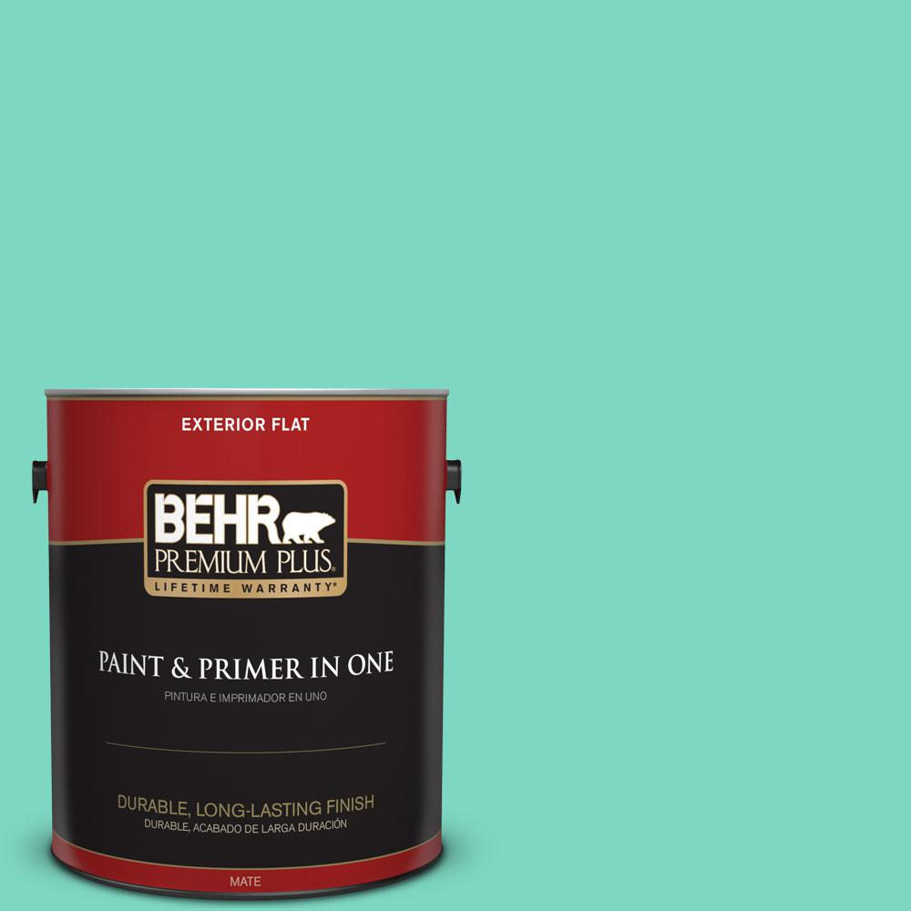 BEHR Premium Plus 1-gal. #480A-3 Mint Majesty Flat Exterior Paint