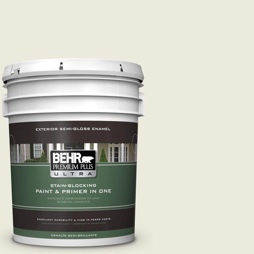 5-gal. #BWC-18 Spring White Semi-Gloss Enamel Exterior Paint