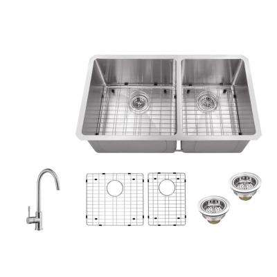 Undermount 32 in. 16-Gauge Stainless Steel Double Bowl Kitchen Sink in Brushed Stainless with Gooseneck Kitchen Faucet