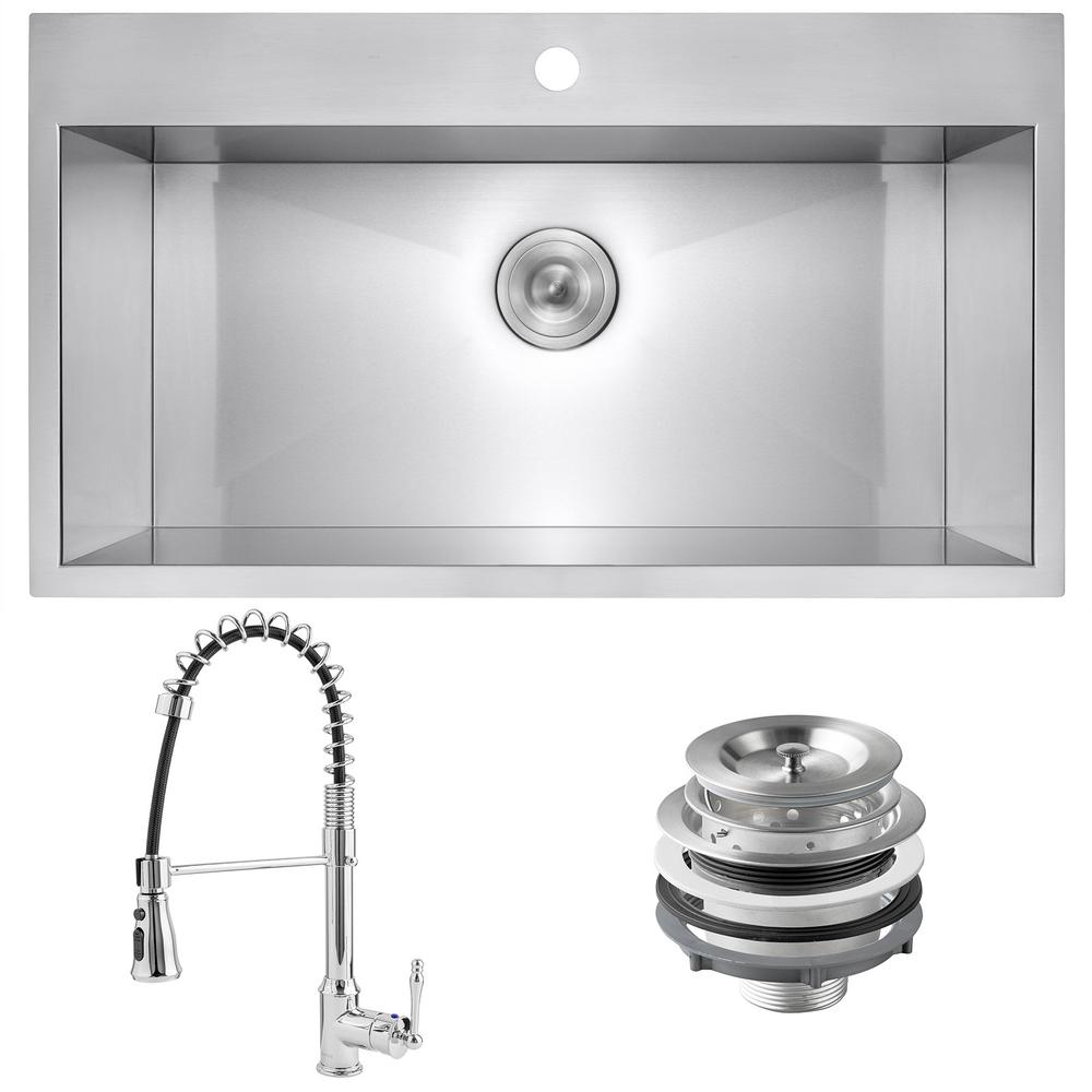 Golden Vantage Handmade All-in-One Stainless Steel 33 in. x 22 in. Single Bowl Drop-in Kitchen Sink and Spring Neck Kitchen Faucet, Brushed Stainless was $459.0 now $299.99 (35.0% off)