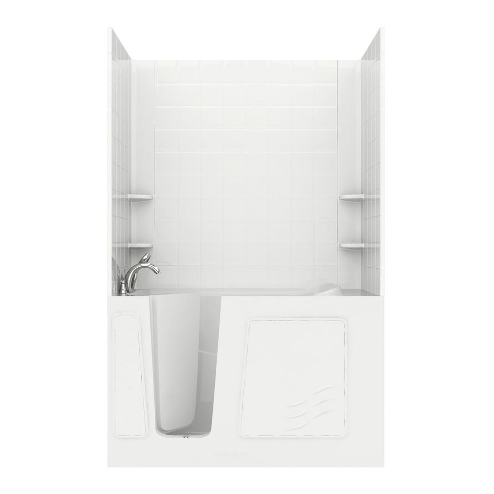 Rampart 5 ft. Walk-in Non-Whirlpool Bathtub with 6 in. Tile Easy