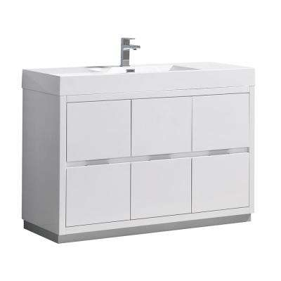Valencia 48 in. W Bathroom Vanity in Glossy White with Double Acrylic Vanity Top in White