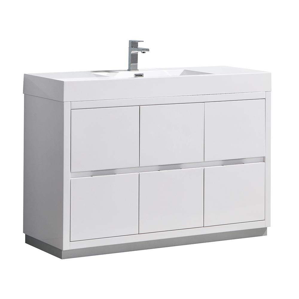 fresca valencia 48 in w bathroom vanity in glossy white with double acrylic vanity top in white. Black Bedroom Furniture Sets. Home Design Ideas