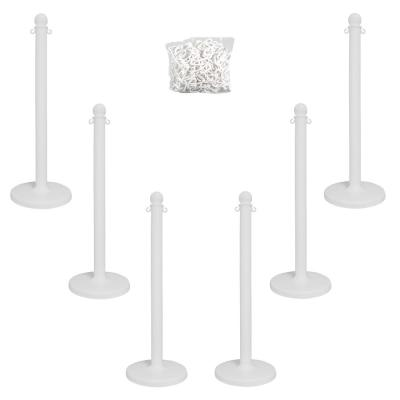 Medium Duty White Stanchion and Chain Kit