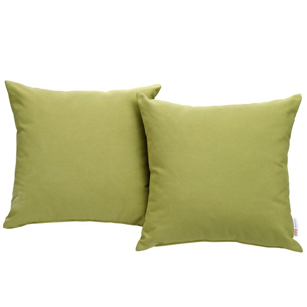Convene Patio Square Outdoor Throw Pillow Set in Peridot (2-Piece)