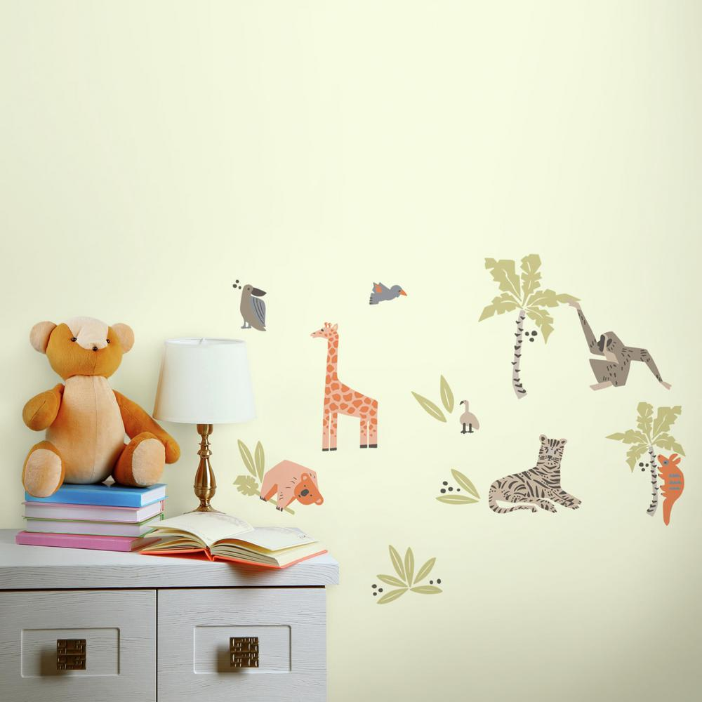 5 in. x 11.5 in. DwellStudio Jungle Animals 28-Piece Peel and