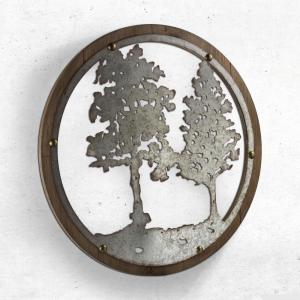 Crystal Art Gallery Wood and Galvanized Metal Tree Round Wall Decor by Crystal Art Gallery
