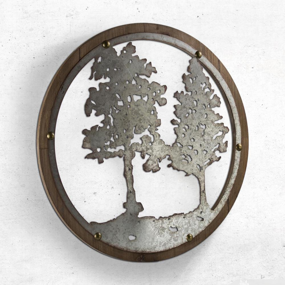 Crystal Art Gallery Wood And Galvanized Metal Tree Round Wall Decor