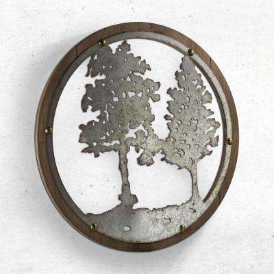 Wood and Galvanized Metal Tree Round Wall Decor
