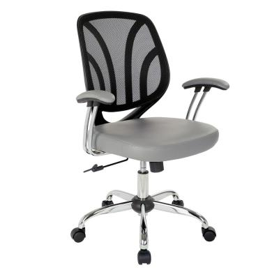 Charcoal Faux Leather Screen Back Chair with Chrome Padded Arms and Dual Wheel Carpet Casters
